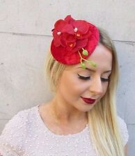 Red Velvet Orchid Flower Fascinator Hat Races Vtg Headpiece Hair Clip 1950s 2552