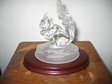 COLLECTIBLE UNUSUAL SQUIRREL HOLLOW GLASS ORNAMENT SUIT ANIMAL ON WOODEN BASE