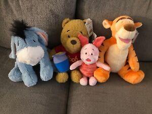 NIB Disney Build a Bear Winnie the Pooh, Eeyore, Tigger, Piglet w/ Sound