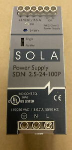 Sola SDN 2.5-24-100P Power Supply 115/230V 1.3-0.7A 50/60Hz NOS