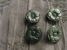 """LOT OF 4 GOLD TONE BRASS METAL VINTAGE FLOWER BUTTONS INCISED VERY NICE 1/2"""""""