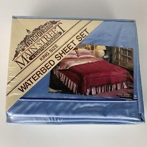 New VINTAGE Main Street King Size Waterbed Sheet Set Baby Blue Ultra Soft Satin