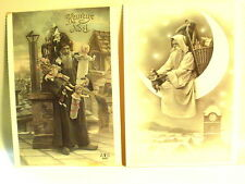 "(2)-Vintage Real Santa Photo Postcards~1985~France~Dol ls~6-1/8"" X 4-1/4""-Deco"
