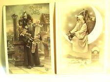 "(2)-VINTAGE REAL SANTA PHOTO POSTCARDS~1985~FRANCE~DOLLS~6-1/8"" X 4-1/4""-DECO"