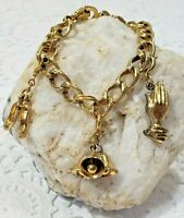 Vtg Monet Charm Bracelet With 3 Charms Gold Tone Bells Shoes Prayer Hands