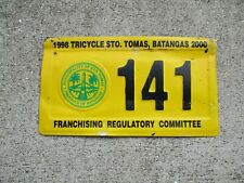 Phillippines 2000 STO. Tomas Batangas Tricycle  license plate #    141