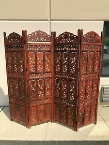 Traditional Elephant Design Four-Panel Wooden Partition / Screen Divider