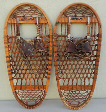 Vtg. Matched Pair Snocraft Norway, Maine Bearpaw Snowshoes Stamped U.S. 1944