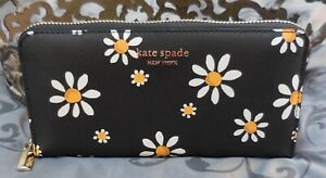 Kate Spade~Spencer DAISY DOTS Continental Zip Wallet~BLACK~WHITE~YELLOW~NWT $188