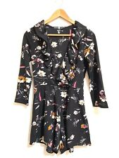 Boohoo Playsuit Size 8 Tall Black Moody Floral Pink Ruffle V-Neck NEW NWOT