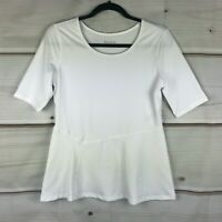 Susan Lucci Collection Half Sleeve Peplum Top White Stretch Womens S A308271