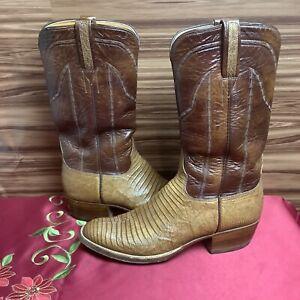 Lucchese Womens Lizard Skin Western Boots Sz 8.5B