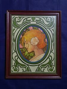 Alphonse Mucha, painting, vintage, rare, with frame