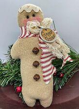 "Primitive Christmas Handcrafted Ginger Kisses Gingerbread Man 9"" Tuck"