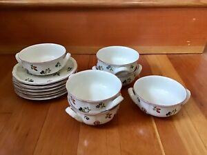EUC Vintage Villeroy & Boch PETITE FLEUR (6) Handled Cream Soup Bowls & Saucers.
