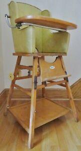 "VTG/Antique Wooden Thayer Convertible Child's High Chair-1950's-Vinyl Seat-40"" T"