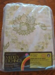 Vintage Sears Medley Mates Etchings Green Floral Percale Twin Size Flat  Sheet