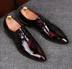 Men Pointy Toe Patent Leather Bright Surface Formal Business Party Wedding Shoes