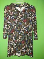 4250) NWOT J JILL x-small XS black floral Wearever jersey knit top cowl tunic XS