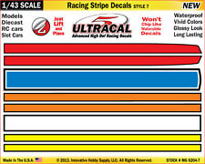 MG6204-7 - 1/43 UltraCal Yellow Blue Stripe Decals Stickers Fits SCX, Carrera Go