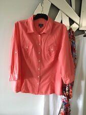 SPORTSCRAFT Coral Peach 3/4 Tab Sleeve 2 Pockets Shaped 100% Cotton Shirt 16 PC