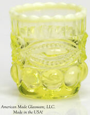 Vaseline Opalescent Glass Eyewinker Pattern Toothpick Holder - Mosser