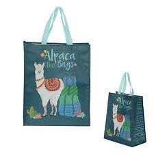 Puckator alpaca las bolsas reutilizable eslogan divertido azul