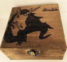 Personalised Wooden Keepsake Memory Box 12cm Magical Unicorn Horse Gift Love x