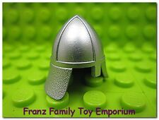New LEGO Minifig HELMET Silver Head Gear w/Nose Guard Castle King Knight Soldier