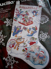 Christmas Bucilla Counted Cross Holiday Stocking KIT,WINTER FUN,Gillum,83435,18""