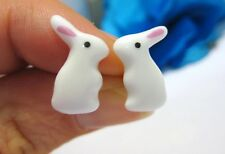 FREE POST OFFER! MINIATURE WHITE RABBIT EARRINGS! HANDMADE CERAMIC ALICE ANIMAL
