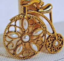 Pin Brooch Goldtone Penny Farthing Bike with Pearls Costume Jewelry Gift