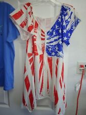 XXL WOMEN'S BLOUSE BY AGE NEW AMERICAN FLAG V Neck Cap Sleeve