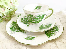 """SHELLEY  DAINTY TEA CUP AND SAUCER TRIO """"LILY OF THE VALLEY """" PATTERN"""