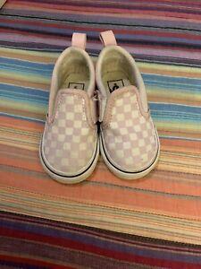 Vans Slip-On V Pink Checkered Toddler Shoes Size USA 5