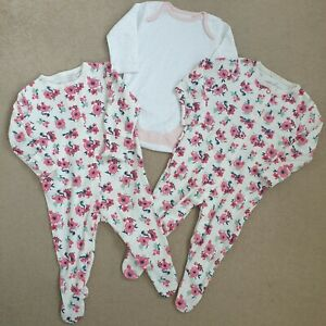 Baby Girl Bundle 0-3 Months 3pc Bodysuit Babygrows Pink Floral New Twins