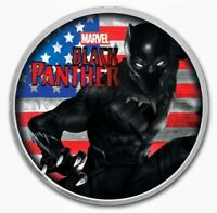2018 Tuvalu BLACK PANTHER US FLAG Colorized 1oz .999 Silver Coin - Box & COA