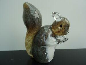 Stunning Vintage Grey Art Glass Squirrel Paperweight/Ornament