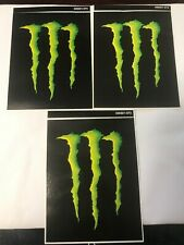 "Monster Energy Green 3-pack Of Stickers 4 1/2"" By 3 1/4""."