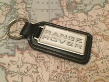 RANGE ROVER WHITE Quality Black Real Leather Keyring  OBLONG  EVOQUE VELAR