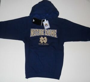 UNIVERSITY OF NOTRE DAME ADIDAS PULLOVER HOODED SWEATSHIRT BOYS SZ SMALL (8) NWT