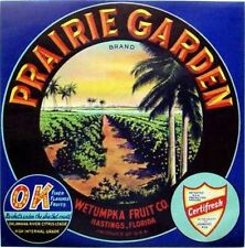 1930s Prairie Garden Florida Orange Fruit Crate Label