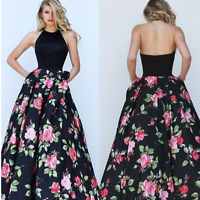 TOP Abendkleid Ballkleid Partykleid Blumen Floral Sommer Kleid rückenfrei BC442