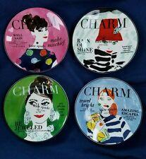 NEW (4) Kate Spade by Lenox Make Headlines Charm Magazine Tidbit Plates