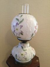 Vintage Milk Glass Gone with the Wind Hurricane Table Lamp Embossed Hand Painted