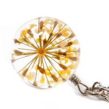 Damen Kette Echte Blüte Gelb Halskette Silber Glas Kugel Anhänger Elegant 3D