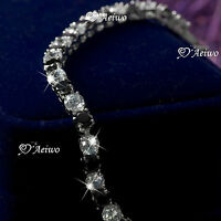 18k white gold gf made with swarovski crystal bride wedding chain bracelet 19cm