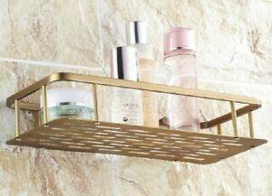 Antique Brass Wall Mounted Kitchen & Bathroom Basket Shelf Storage Basket Gba107