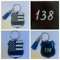Thin Blue Line Badge Keychain back the blue Police Rubber 2 X 2 CAN CUSTOMIZE