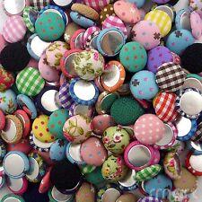 100pcs Mixed Round Cloth Button/Flatback Lot 15mm Craft Embellish DIY Bow Center